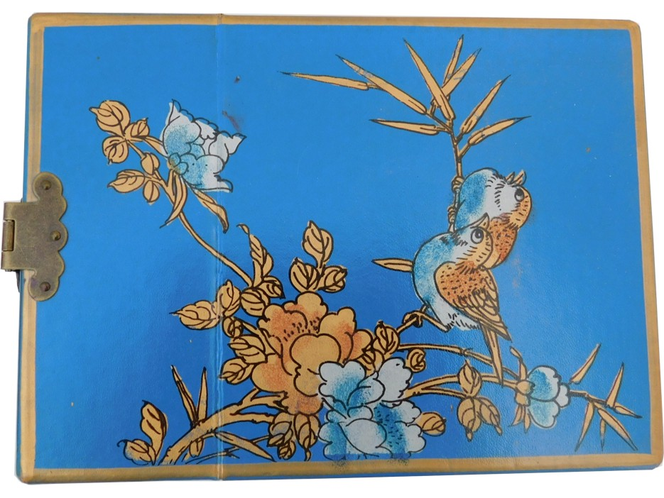 Chinese Blue Jewellery Box with Mirror - Open View