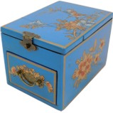 Blue Jewellery Box with Stand-Up Mirror - Bird 1 Drawer