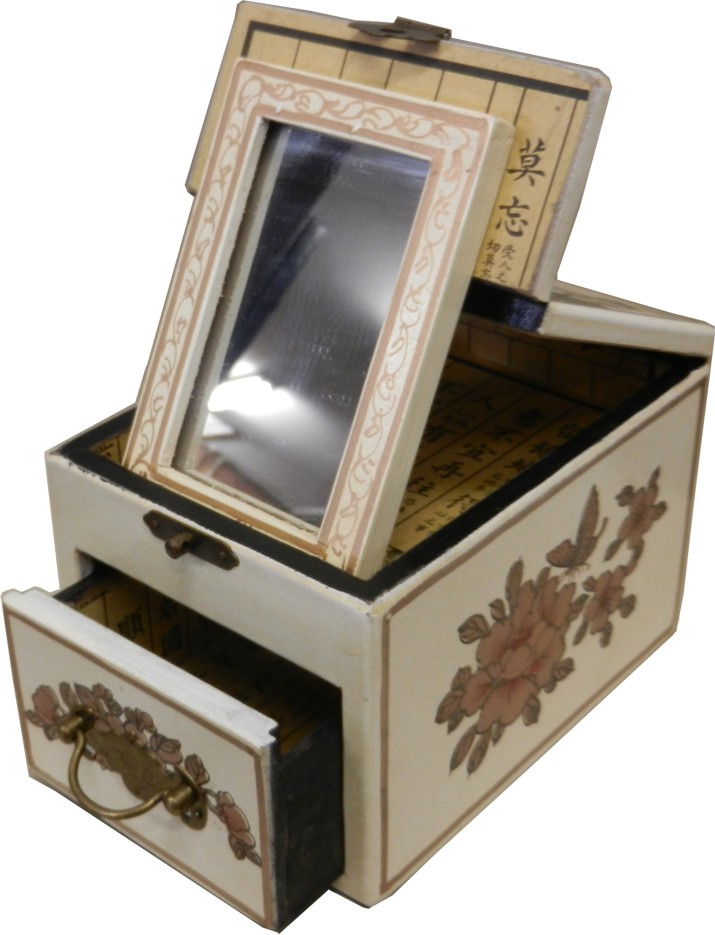 White jewellery box with stand up mirror traditional for White stand up mirror