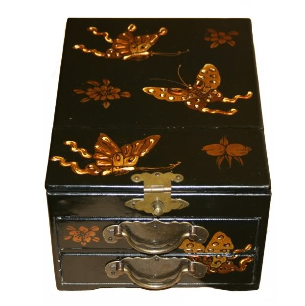 Black Two Drawers Mirror Box - Butterfly Embossed