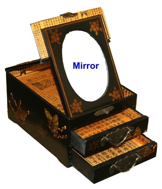 Black Two Drawers Mirror Jewel  Box - Open View