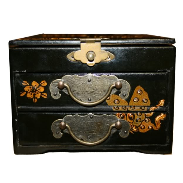 Black Two Drawers Mirror Jewel  Box - Front View