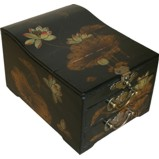 Curve Top Two-Drawer Black Mirror Box - Dragonfly