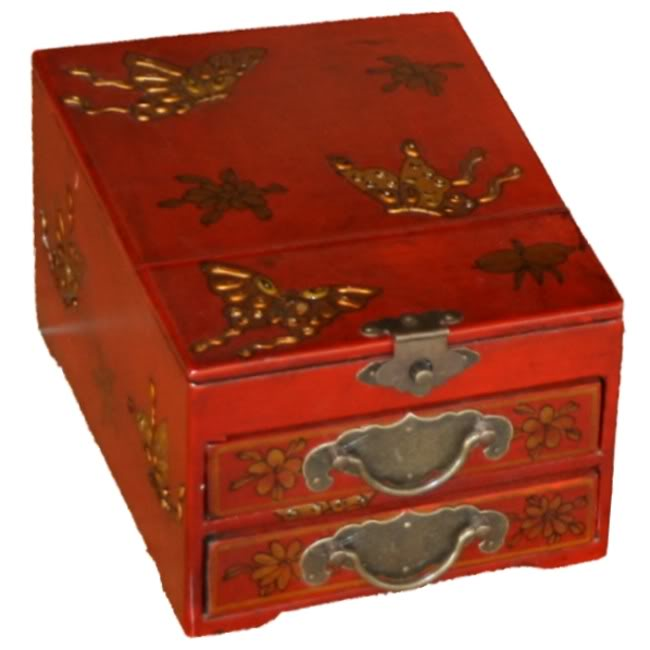Red Two Drawers Mirror Box - Butterfly - Front View