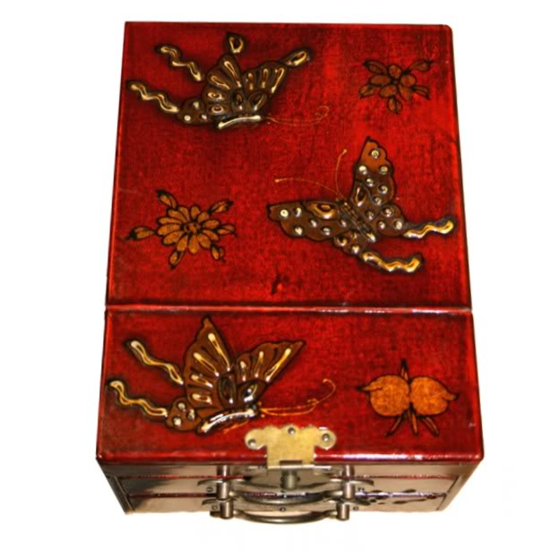 Red Two Drawers Mirror Box - Butterfly - Top View