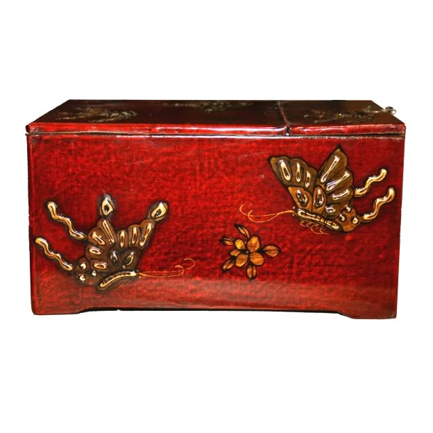 Red Two Drawers Mirror Box - Butterfly - Side View
