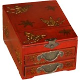 Red Two Drawers Mirror Box - Butterflies
