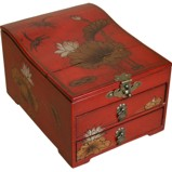 Curve Top Two-Drawer Red Mirror Box - Dragonfly