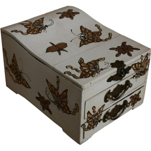 Curve Top Two-Drawer White Mirror Box - Butterfly