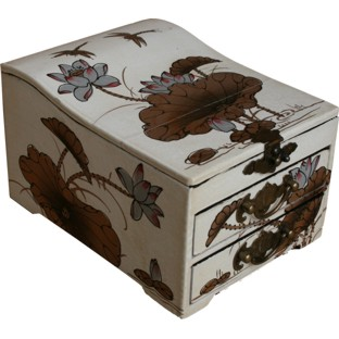 Curve Top Two-Drawer White Mirror Box - Dragonfly