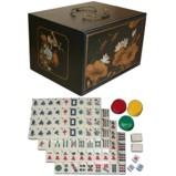 Mahjong Set in Four-Drawers Black Painted Case
