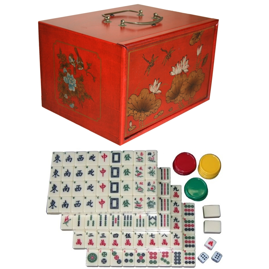 Mahjong Set in 4-Drawer Red Painted Case with Tiles