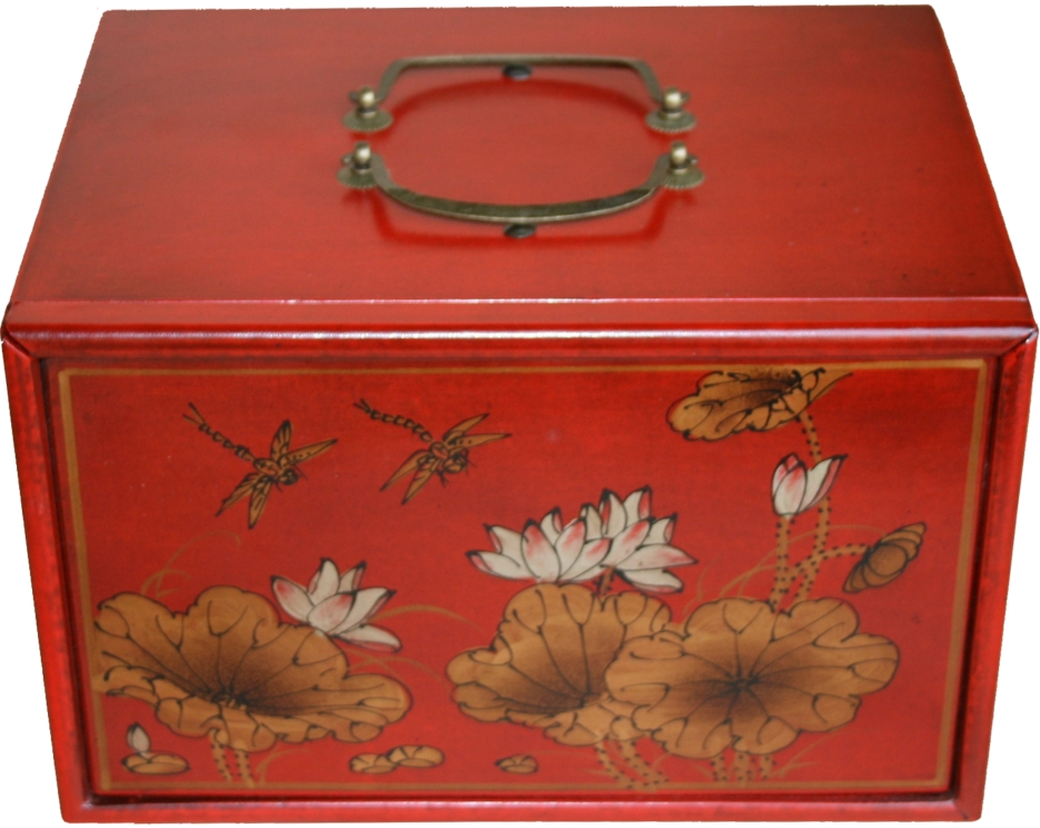 Mahjong Set in 4-Drawer Red Painted Case Top View