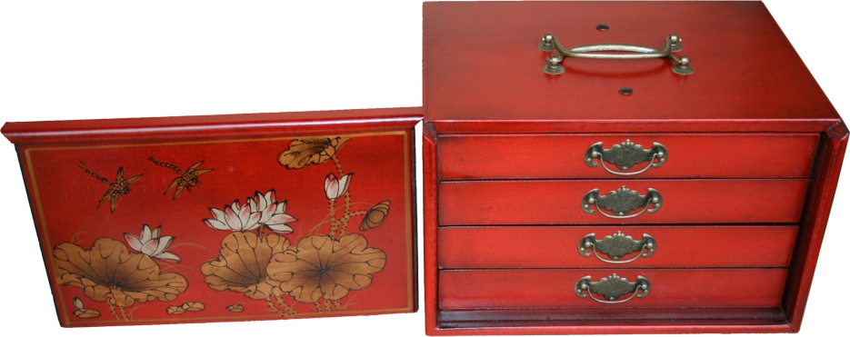 Mahjong Set in 4-Drawers Red Painted Case