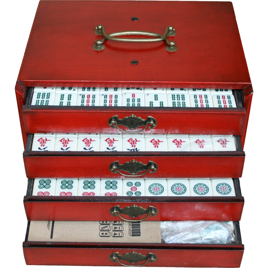 Mahjong Set in 4-Drawer Red Painted Case Slide open