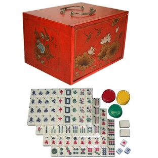Mahjong Set in Four-Drawers Red Painted Case