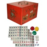 Mahjong Set in Four Drawers Red Painted Case
