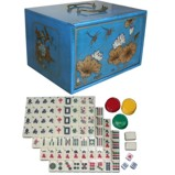 Mahjong Set in Four-Drawers Blue Painted Case