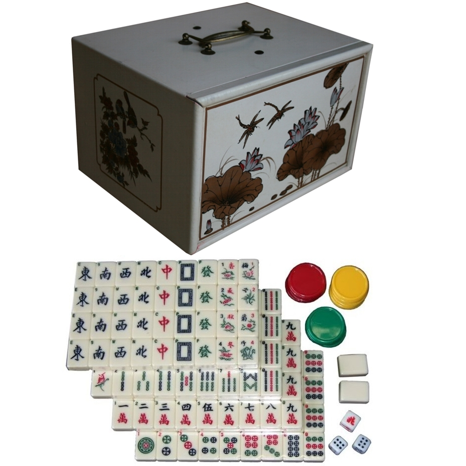 Mahjong Set in Creamy 4-Drawer Painted Case wiith Tiles