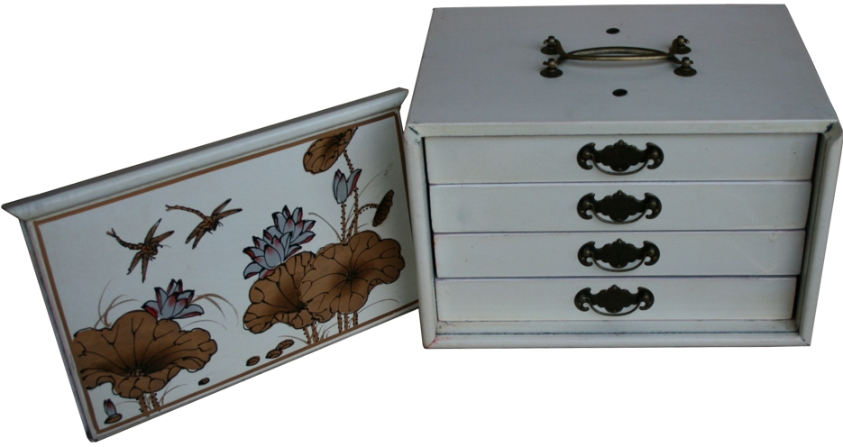 Mahjong Set in Creamy 4-Drawer Painted Case Open