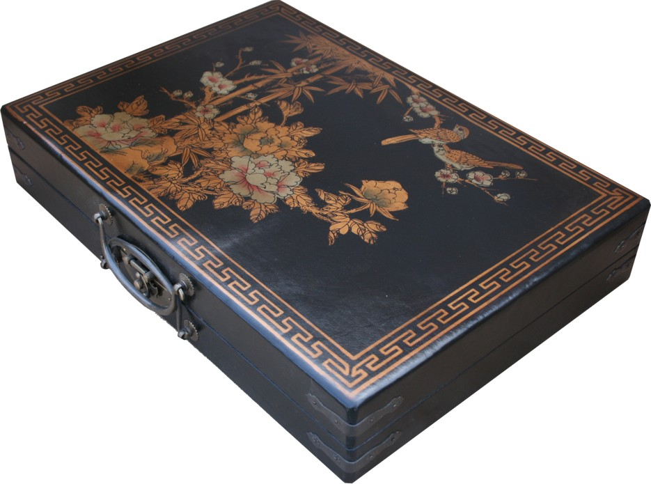 Mahjong Set in Black Chinese Painted Case Side View