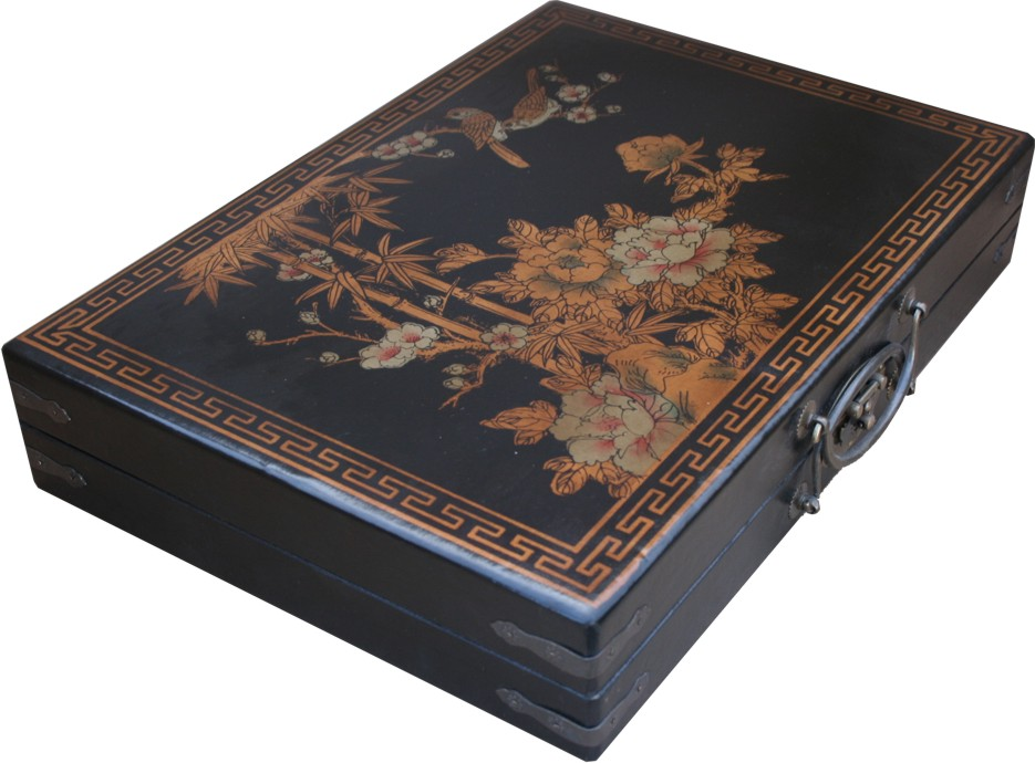 Mahjong Set in Black Chinese Painted Case  Side