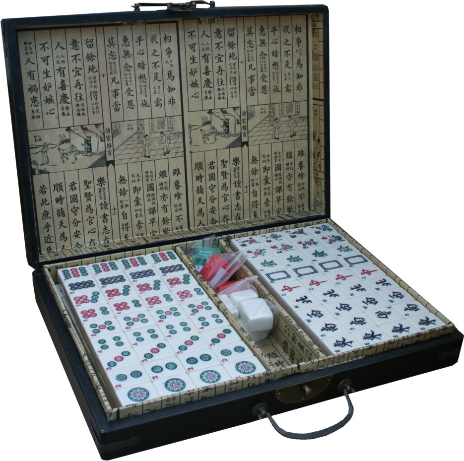 Mahjong Set in Black Chinese Painted Case Open View