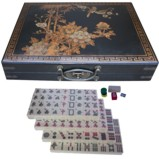 Large Mahjong Set in Black Painted Case