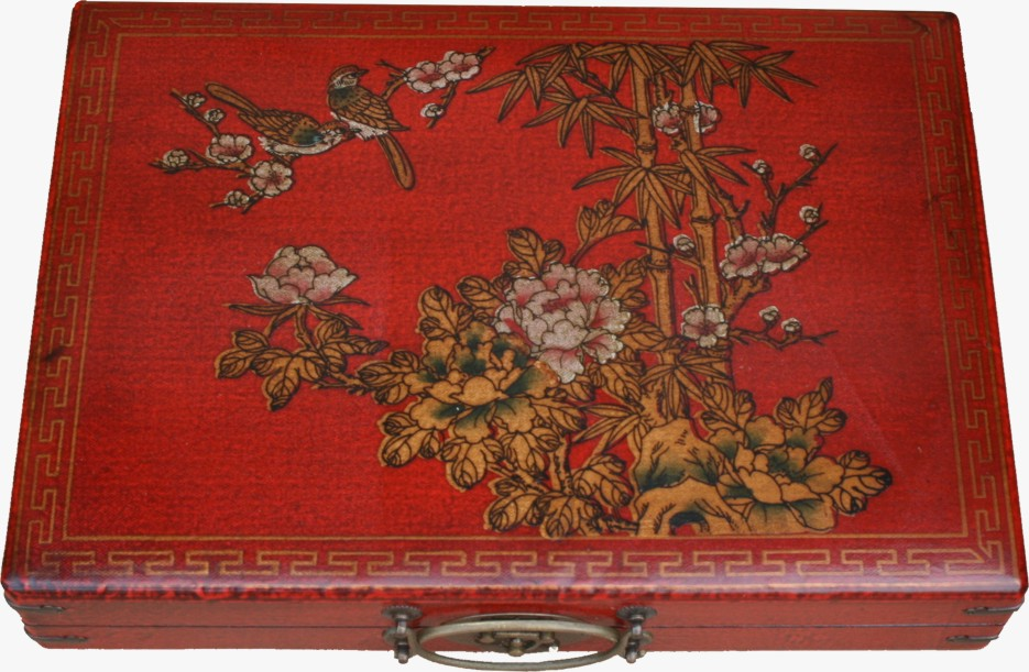 Mahjong Set in Chinese Red Painted Case Top view
