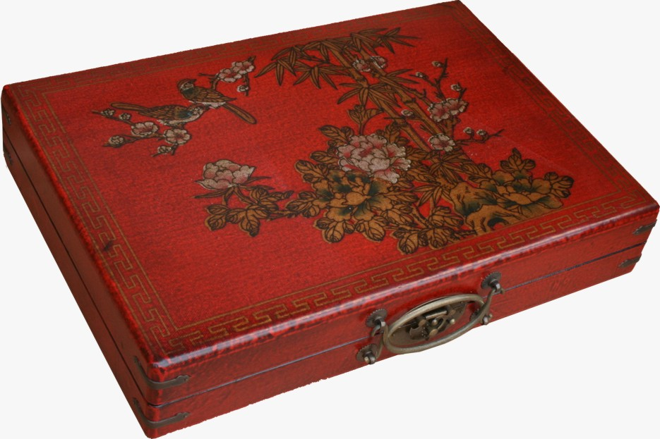 Mahjong Set in Chinese Red Painted Case