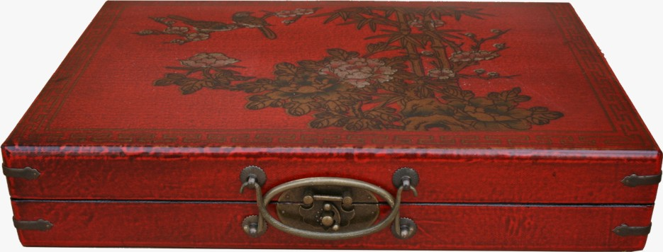 Mahjong Set in Chinese Red Painted Case Front view