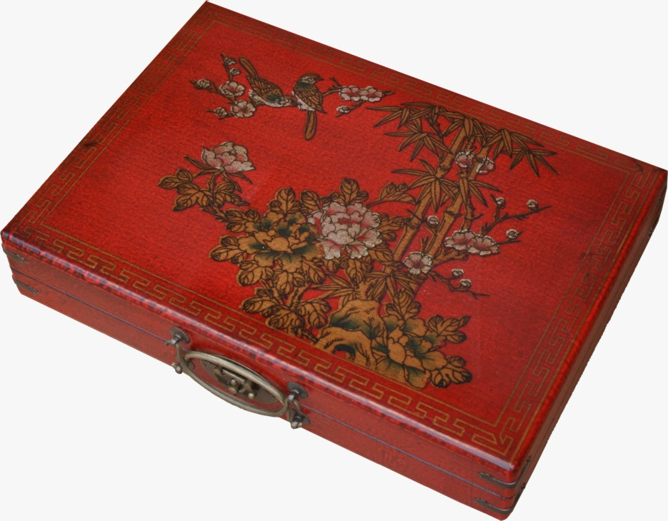 Mahjong Set in Chinese Red Painted Case Side View