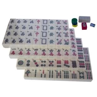 Mahjong Set in Chinese Red Painted Case Tiles