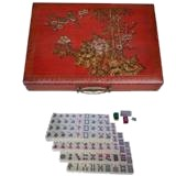 Large Mahjong Set in Red Painted Case