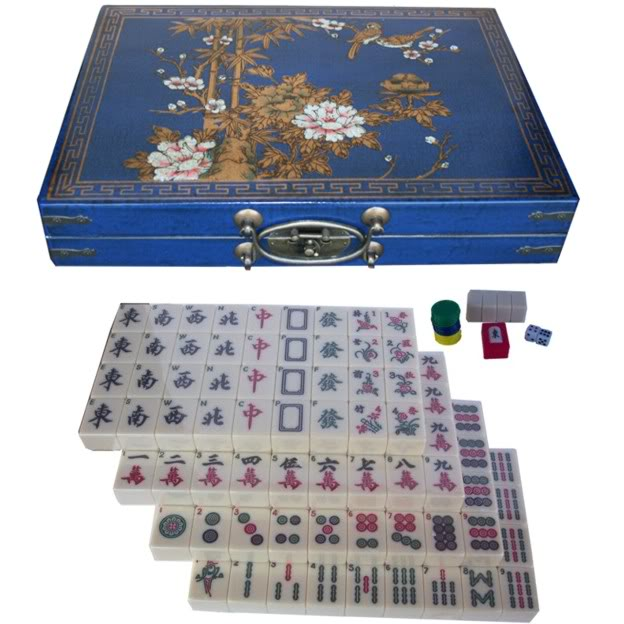 Large Mahjong Set in Blue Leather Case