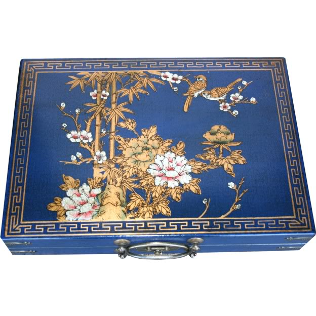 Large Mahjong Set in Blue Leather Case -Top View