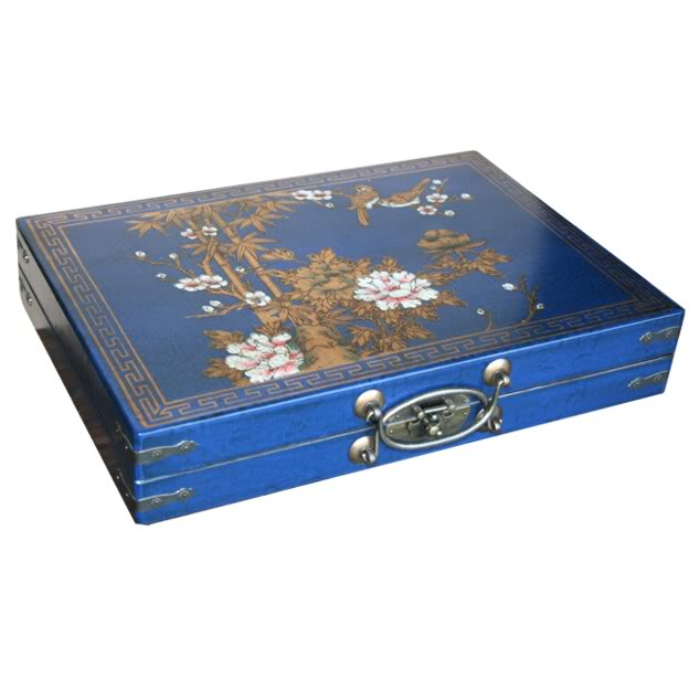 Large Mahjong Set in Blue Leather Case - Angel View