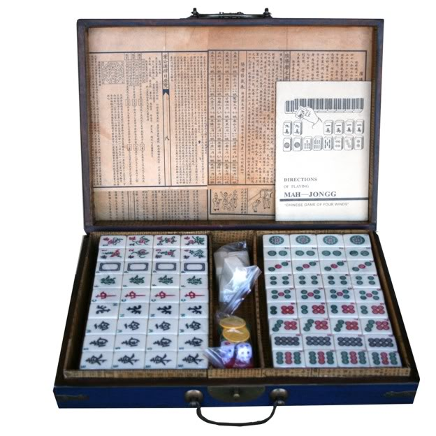 Large Mahjong Set in Blue Leather Case -Open View