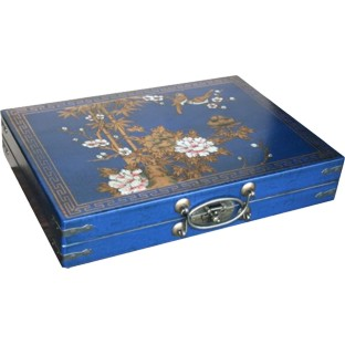 Large Mahjong Set in Blue Painted Case