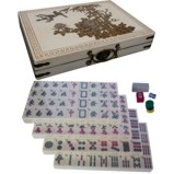 Large Mahjong Set in Creamy White Painted Case