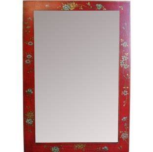 Red Mirror w/ Paintings - Vertical