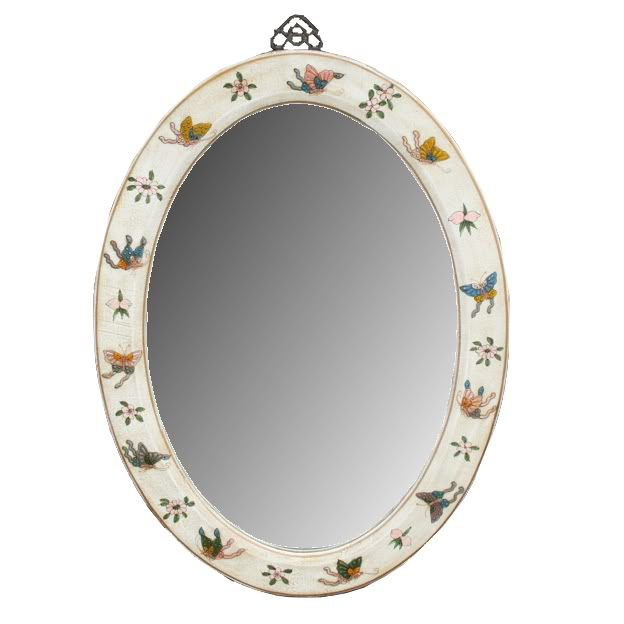 White Oval Leather Mirror - Embossed Butterfly