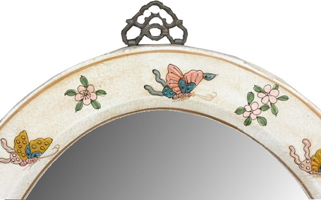 White Oval Leather Mirror - Embossed Butterfly - Detail 1