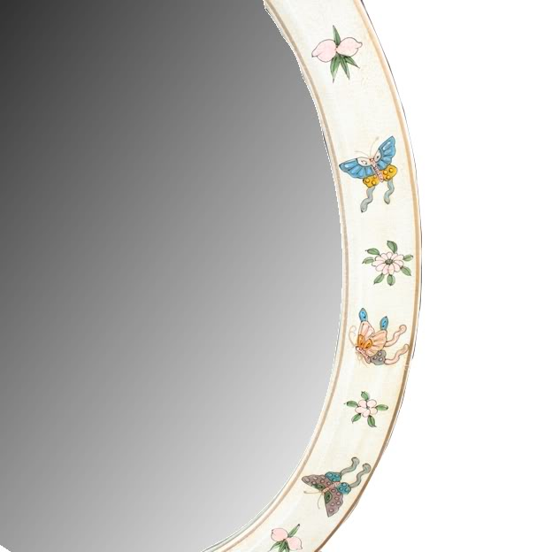 White Oval Leather Mirror - Embossed Butterfly- Detail 2
