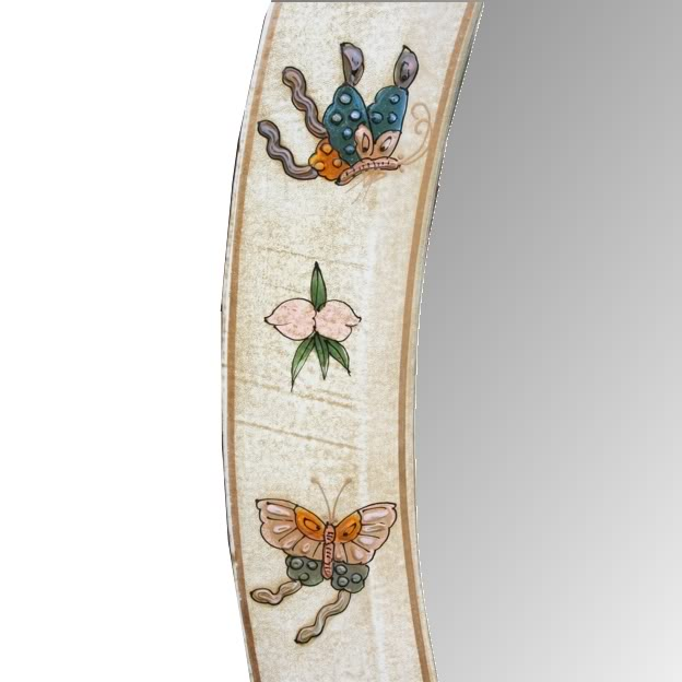 White Oval Leather Mirror - Embossed Butterfly- Detail 3