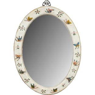 White Oval Painted Mirror - Embossed Butterflies