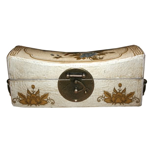 White Large Pillow Shape Jewellery Box -Front View