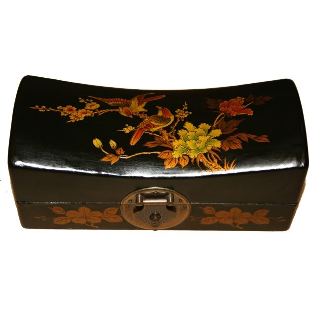 Black Medium Pillow Shape Jewellery Box - Front View