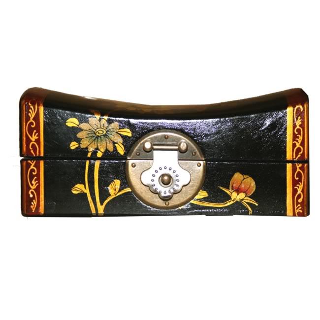Black Medium Pillow Shape Jewellery Box -Front View