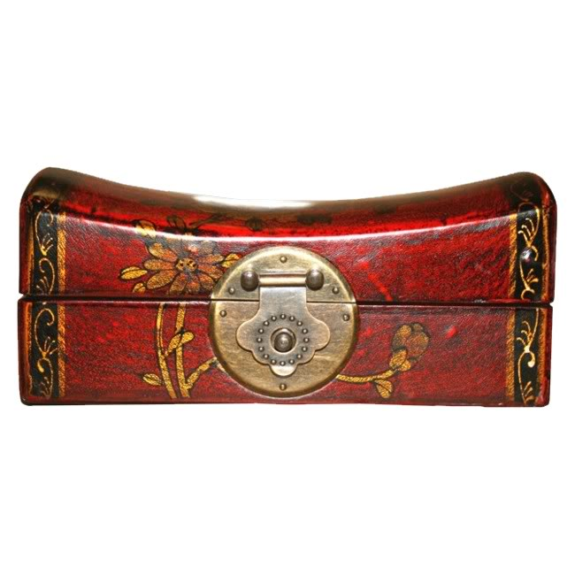 Red Medium Pillow Shape Jewellery Box - Front View